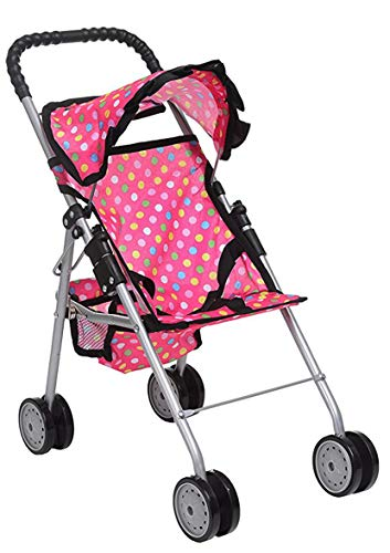 Exquisite Buggy, My First Doll Stroller Pink & Off-White with Basket in The Bottom (Polka Dot)
