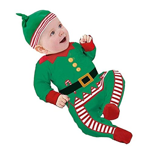 Elf Infant Costumes (Baby Clothes Outfits Boy Girl Kids Romper Hat Cap Set Christmas Gift 3-6Months Green)