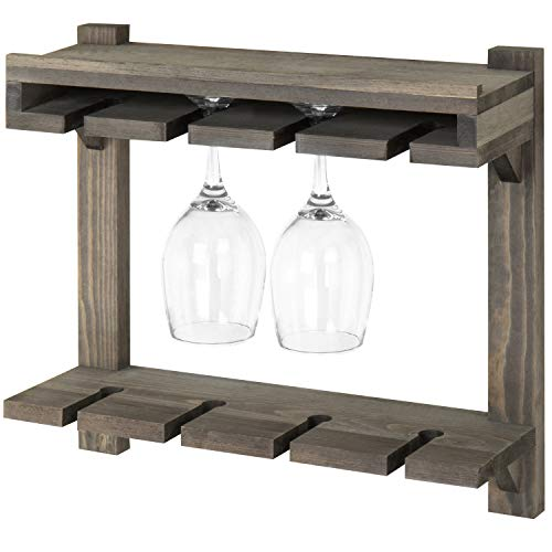 MyGift Wall-Mounted Gray Wood 2-Tier Wine Glass Storage - Wine Glass Mounted Wall Holder
