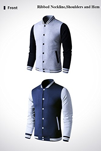 LTIFONE Mens Lightweight Varsity Jacket Button Down Baseball College Letterman Jacket(Blue,L) by LTIFONE (Image #2)