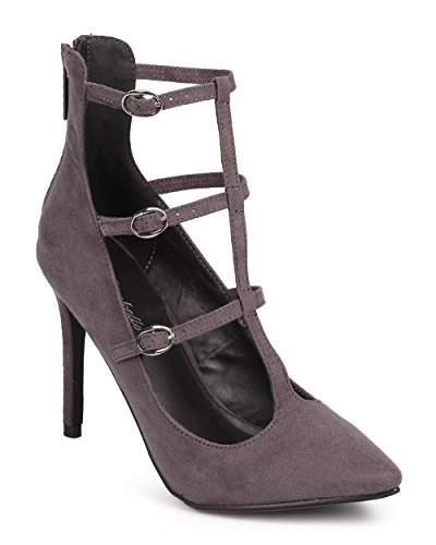 Breckelles DG16 Women Suede Pointy Toe T-Strap Zip Cage Stiletto Pump Grey 1MwOX6