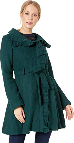 Peacoat Ruffle (Steve Madden Women's Wool Fashion Coat, Ruffles Green, L)