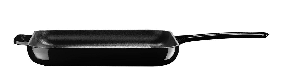 Gusseisen 28.5 cm schwarz Kitchenaid Grillpfanne mit Presse