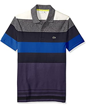 Men's Short Sleeve Bold Stripe Pique Polo Shirt