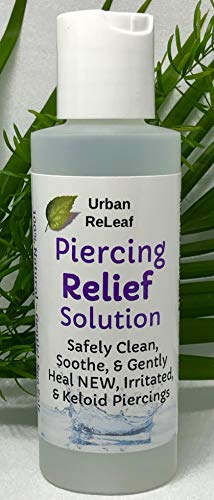 Urban ReLeaf Piercing Relief Solution ! Safely Clean, Soothe & Gently Heal New, Irritated and Keloid Piercings. 100% Natural Sea Salt, Tea Tree, Rosemary