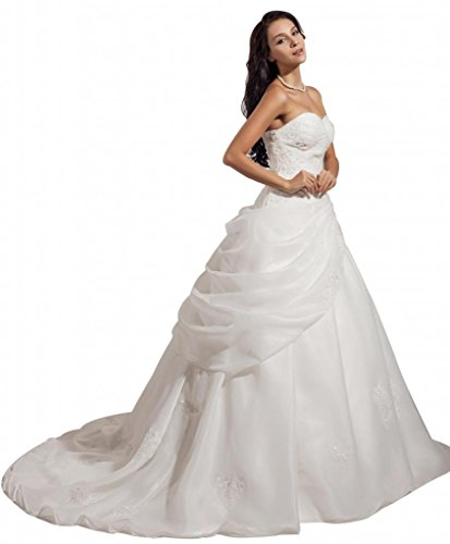 GEORGE BRIDE ELegant Strapless Ball Gown Satin Wedding Dress