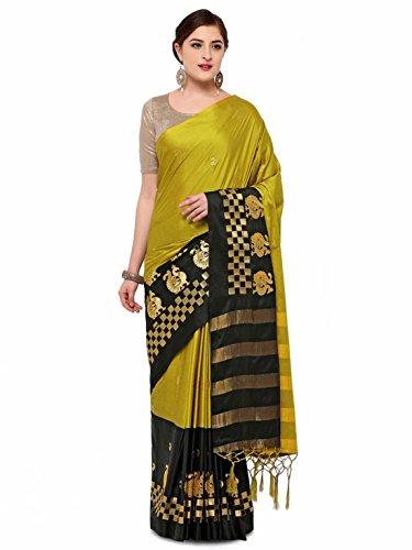 Printed Saree Yellow Blend Indian Export Black Silk amp; Handicrfats Satrani gw6zxa8