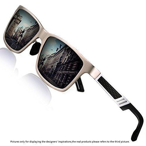 Rocknight Polarized UV Protection Men's Sunglasses Wayfarer Full Frame Silver Grey Flat Mirror Lens Outdoor Fashion - Small Sunglasses Framed