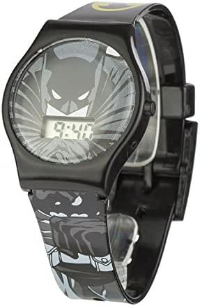 Batman Children's Digital Display Watch With Grey Dial And Black Plastic Strap