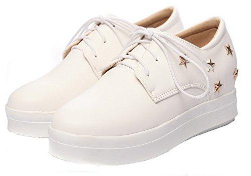 redondo VogueZone009 cerrado Bombas Tacones Zapatos con blancos sólido Pu de mujer Puño cordones TSqTUwr0