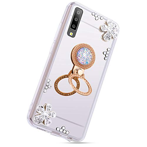 Herbests Compatible with Samsung Galaxy A7 2018 Glitter Case Mirror Makeup Case Luxury Crystal Rhinestone Diamond Bling Soft Silicone Rubber TPU Protective Cover with Ring Stand Holder,Silver