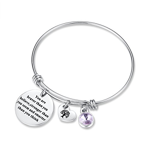 June Birthstone You Are Braver Than You Believe Think Charm Bracelet Jewelry with Heart Tree of Life, Birthday Gifts for mom sister mother daughter friendship wife christmas day gifts (LightAmethyst) (Charm Birthstone Girl June)