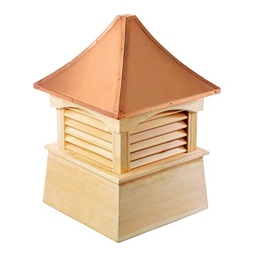 Coventry Cupola - Good Directions Coventry Louvered Cupola with Pure Copper Roof, Cypress Wood, 18