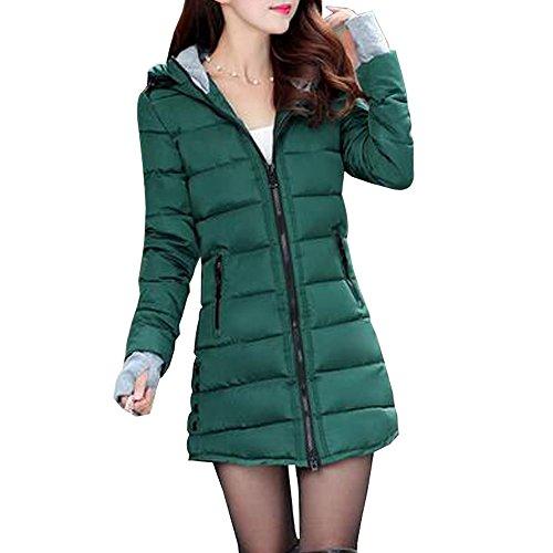 KINDOYO Mujer Invierno Larga Abrigo de Cremallera Acolchado Chaqueta Largo con Capucha - Verde