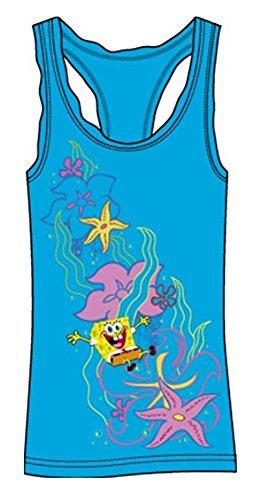 [Nickelodeon Spongebob Square Pants Girls Pajama Tank Top Dress - Aqua Blue M] (Spongebob Dress)