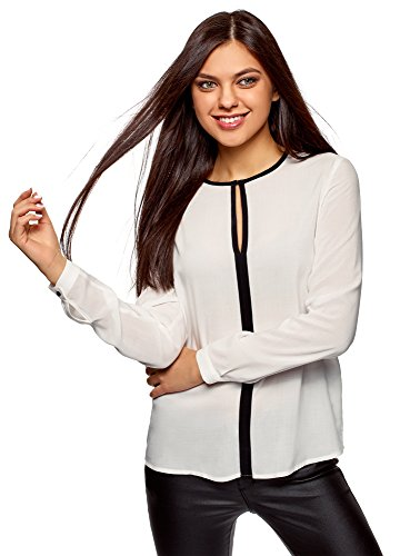 oodji Ultra Womens Viscose Blouse with Contrast Details