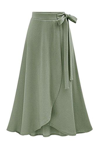 Yacun Les Femmes Long Dcollet Jupes Taille Haute Plage Jupe Partage Irrgulier Green