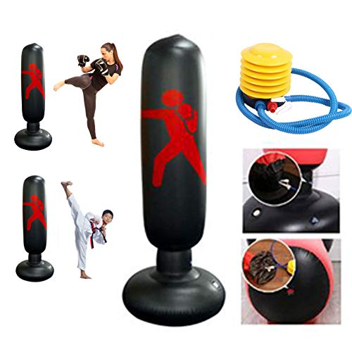 DankeSh 63 Inch Inflatable Punching Bag for Kids Adults Fitness Punching Bag Free Standing Boxing Target Bag for Karate…