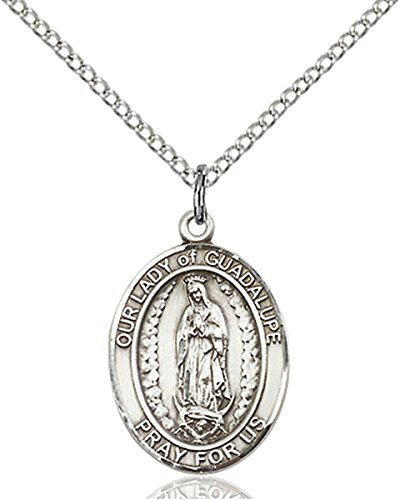 Sterling Silver Our Lady of Guadalupe Medal Pendant, 3/4 Inch