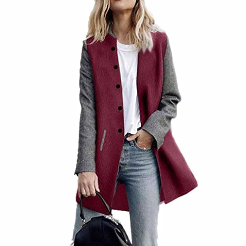 Women Coat,Haoricu Elegant Fall Winter Womens Button Long Sleeve Jacket Ladies Coat With Pockets (S, Red)