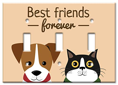 Art Plates Brand Triple Gang Toggle Switch/Wall Plate - Best Friends Forever - Cat & Dog ()