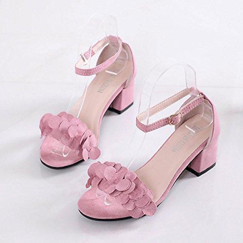 gris confort negro goma verano de Pink ZHZNVX mujer rosa de exterior de Chunky Zapatos sandalias talón gnqOxX7