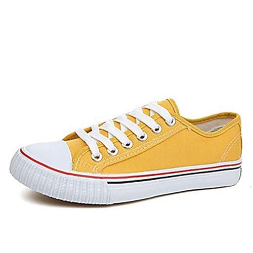 tacco suole punta Yellow verde donna sneakers primavera giallo da autunno di tonda piatto drappeggio tela rosso luce scarpe TTSHOES 8vq7Rn