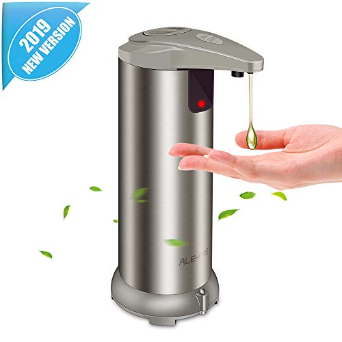 Automatic Soap Dispenser - Touchless Soap Dispenser with Waterproof Base, Infrared Motion Sensor Stainless Steel Dish Liquid Free Auto Hand Soap Dispenser for Bathroom or Kitchen, 2019-New Version