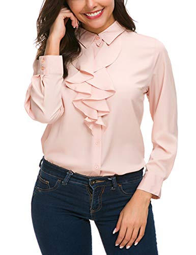 - ACONIYA Womens Vintage Long Sleeve Lotus Ruffled Casual Work Shirt Chiffon Blouse Tops (2XL, Pink)