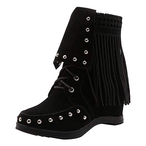 Realdo Clearance Sale Women Casual Fringe Lace Up Martin Booties Suede Ankle Boots Shoes(US 6.5,Black)