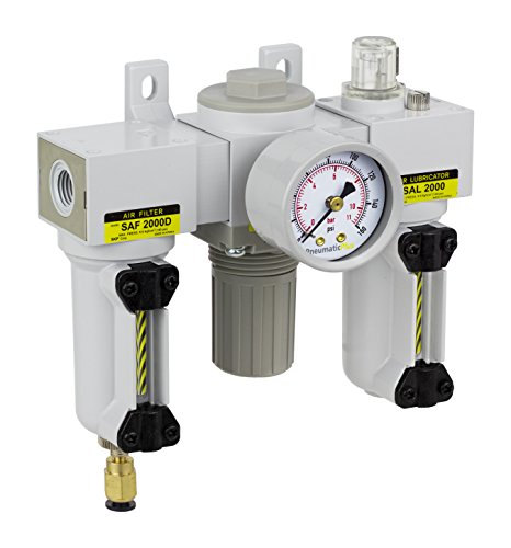 PneumaticPlus SAU2000M-N02DG-MEP Mini Three-Unit Combo Compressed Air Filter Regulator Lubricator FRL, Air Preparation Unit 1/4