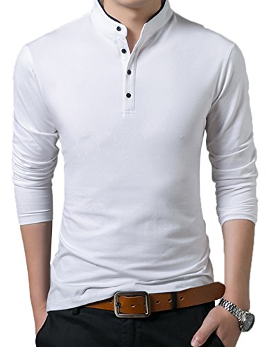 Men's Long Sleeve Casual Collared Polo Shirt Top White XX-Large