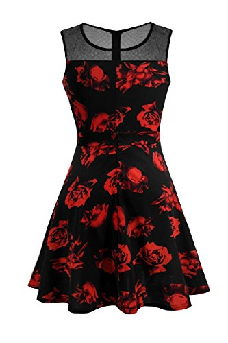 Heloise Fashion Women's A-Line Pleated Sleeveless Little Cocktail Party Dress With Floral Lace