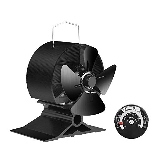 KINDEN Fireplace FansKINDEN Mini Stove Fan - 4 Blades Heat Powered Wood Stove Fan, Log Burner Fan, Eco-Friendly and Ultra Silent Operation with Strong Air Volume