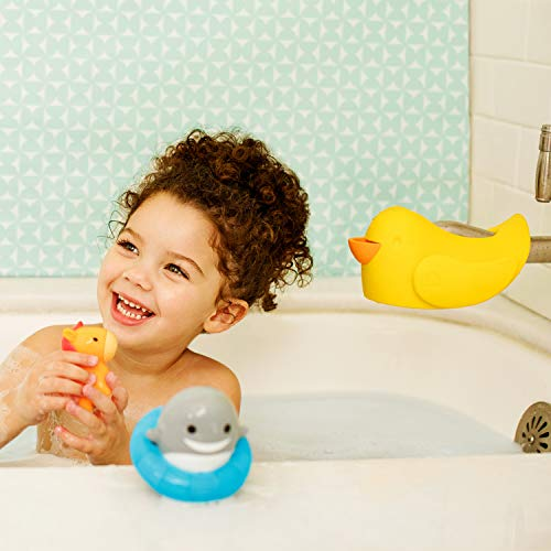 """41KlwoLwaFL Munchkin Bubble Beak Bath Spout Cover Safety Guard, Yellow    """"Ouchie."""" is every parent's least favorite word when bathing their child. Protect your little one from bath time bumps and burns with this snug-fitting spout guard. With an adjustable strap, this spout guard fits to most faucets and protects your little one's head from bumps or burns. And when you need to turn the showerhead on, you don't have to remove Beak. The open-top design gives you access to the diverter at all times. There's even a bubble bath dispenser for sudsy fun. So if you want to ensure your little one's safety and let the good times flow, Beak is sure to fit the bill."""