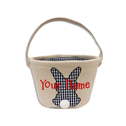 Personalized Easter Holiday Canvas Lined Navy and White Plaid Print Easter Bunny Easter Basket Decoration for Egg Hunt Party Tote Bag Gift Bucket with Custom Name