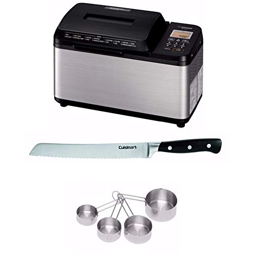 Zojirushi BB-PDC20BA Home Bakery Virtuoso Plus Breadmaker, 2 lb. loaf of bread, Stainless Steel/Black Includes 8 Bread Knife with Blade Guard, 4 Piece Stainless Steel Measuring Cup Set and Bread Book