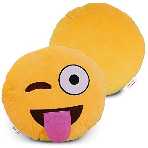 Emoji Pillow  Cartoon Wink Face - Yellow Stuffed Cute Soft