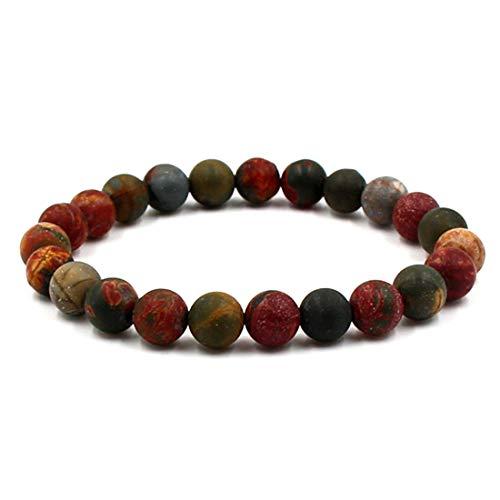 BaiYunPOY 8mm Handmade Charm Prayer Beaded Yoga Bracelet for Men Women - Natural Energy Beads Bracelet Healing Bangle - Red Pine Stone ()