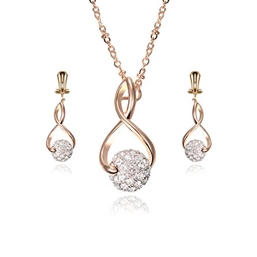 Akvode Womens Ball White Cubic Zirconia Two Pieces Stainless Steel Jewelry Set Inlaid Necklace Pendant Earrings Gifts