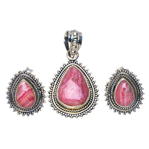Natural Rhodochrosite Handmade Unique 925 Sterling Silver Jewelry Set Pendant 1.5