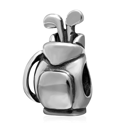 925 Sterling Silver Golf Bag Charm Sport Charm Ball Charm Travel Vacation Charm Birthday Charm for Pandora ()