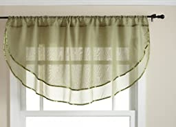 Stylemaster Elegance 60 by 24-Inch Sheer Voile Ascot Valance, Sage
