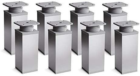 sossai® Patas para muebles MFV1 | 8 piezas | altura regulable | Diseño: Alu | Altura: 60 mm (+20mm) | Perfil cuadrado: 40 x 40 mm |Tornillos incluidos
