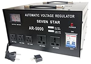 SEVENSTAR AR 5000W Heavy Duty Voltage Reglator/Stabilizer with Built-In Step Up/Down Voltage Transformer