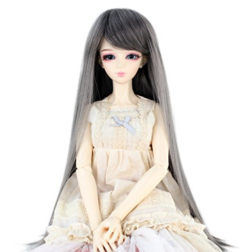 Synthetic Long Straight 9-10 Inch 1/3 BJD MSD DOD Pullip Dollfie Doll Wig Hair Accessories Not for Human (Dark Grey)]()