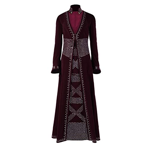 COMShow Game of Thrones Season 8 Cersei Lannister Cosplay Costume Queen Red Long Dress Outfit Halloween Party (XL, Coat) ()