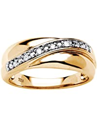 mens 18k gold over sterling silver 110 cttw round diamond wedding band ring hi color i3 clarity - Wedding Rings Amazon
