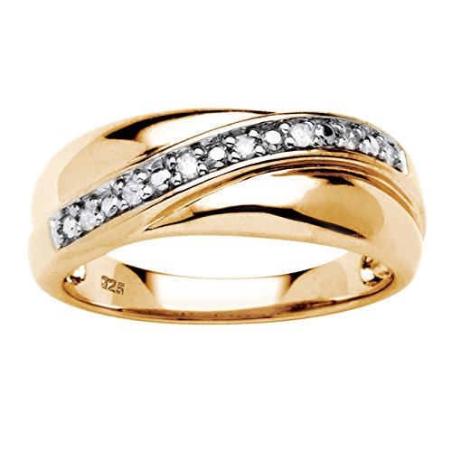 Men's 18K Gold over Sterling Silver 1/10 cttw Round Diamond Wedding Band Ring (HI Color, I3 Clarity) Size - Diamond 18k Mens