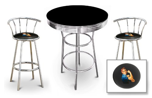 New 3 Piece Rosie The Riveter Themed Chrome Metal Bar Table Set with Black or White top and 2 Bar Stools with Your Choice Of Seat Cushion Vinyl Color.